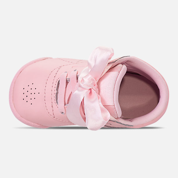 88e043507bb Top view of Girls  Toddler Reebok Freestyle Hi Satin Bow Casual Shoes in  Saturated Luster