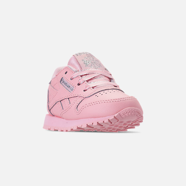 Three Quarter view of Girls' Toddler Reebok Classic Leather Casual Shoes in Saturated Luster Pink