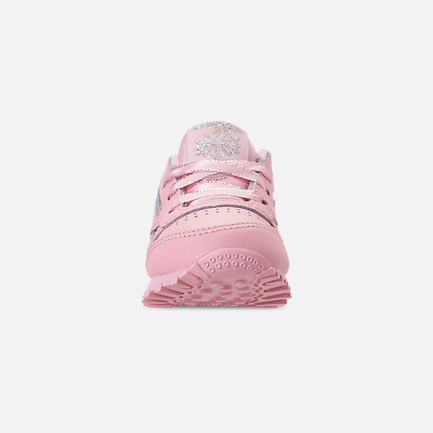 Front view of Girls' Toddler Reebok Classic Leather Casual Shoes in Saturated Luster Pink