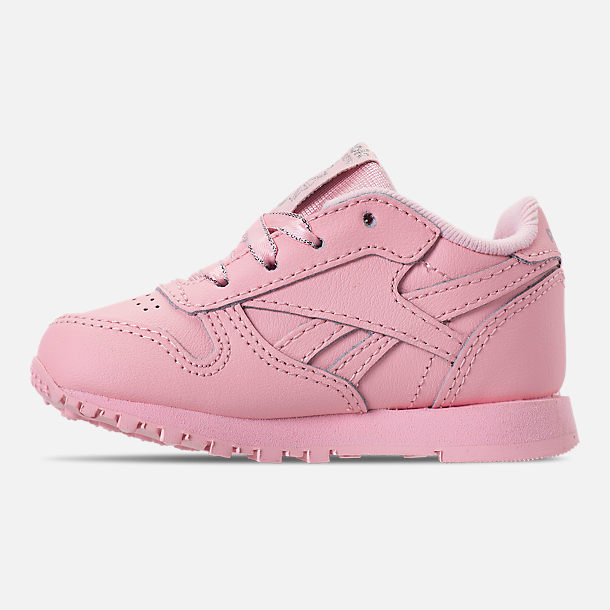 Left view of Girls' Toddler Reebok Classic Leather Casual Shoes in Saturated Luster Pink