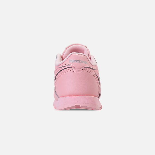 Back view of Girls' Toddler Reebok Classic Leather Casual Shoes in Saturated Luster Pink