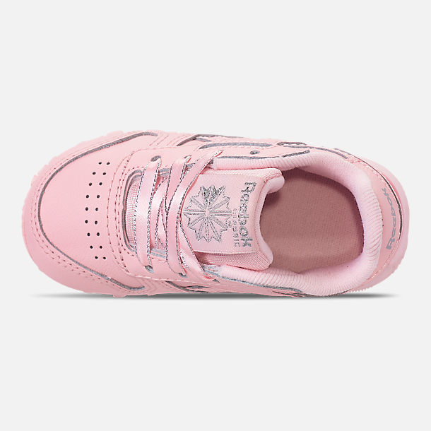 Top view of Girls' Toddler Reebok Classic Leather Casual Shoes in Saturated Luster Pink