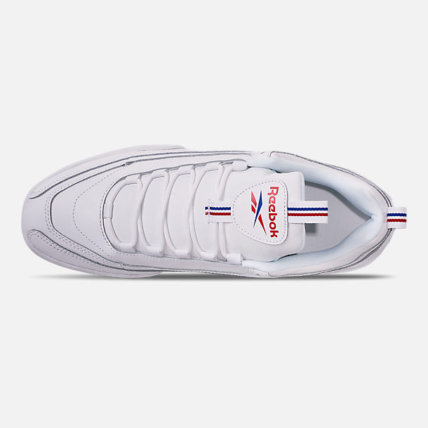 Top view of Men's Reebok Classics Rivyx Ripple Casual Shoes in White/Excellent Red/Collegiate Navy