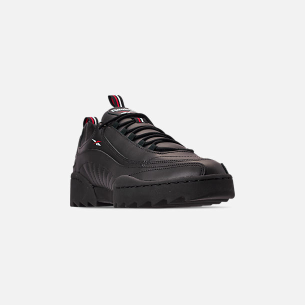 Three Quarter view of Men's Reebok Classics Rivyx Ripple Casual Shoes in Black/White/Excellent Red