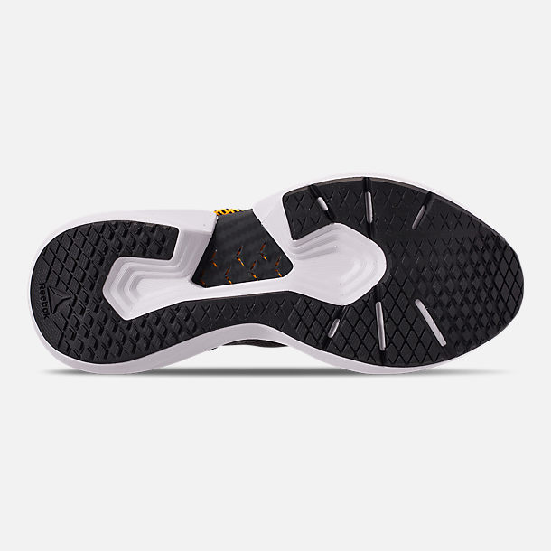 Bottom view of Men's Reebok Sole Fury SE Casual Shoes in Black/White/Yellow