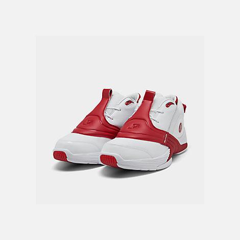Three Quarter view of Men's Reebok Answer V Basketball Shoes in White/Power Red