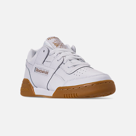 Three Quarter view of Women's Reebok Workout Casual Shoes in White/Rose Gold