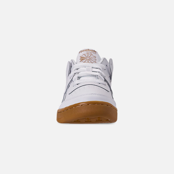 Front view of Women's Reebok Workout Casual Shoes in White/Rose Gold