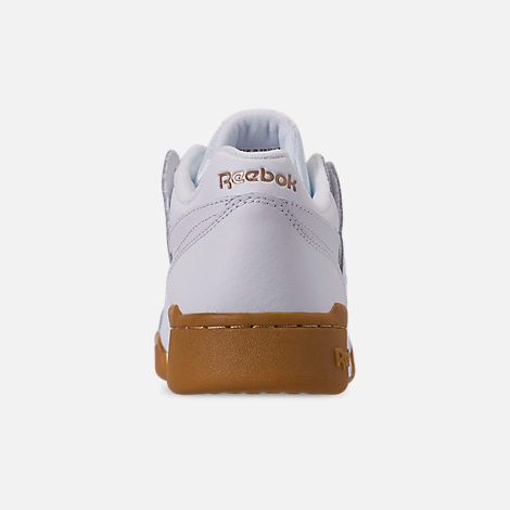 Back view of Women's Reebok Workout Casual Shoes in White/Rose Gold