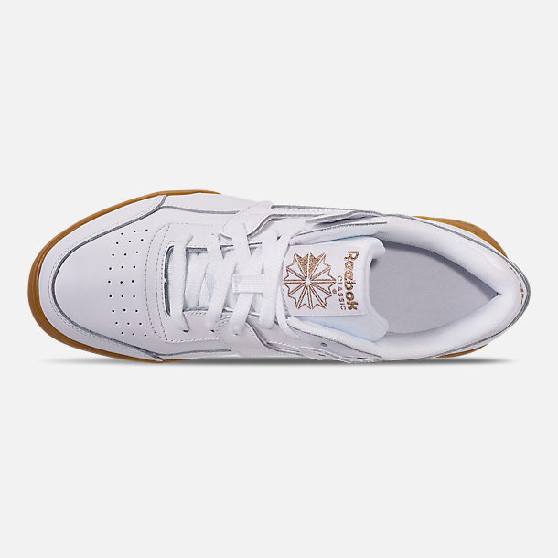 Top view of Women's Reebok Workout Casual Shoes in White/Rose Gold