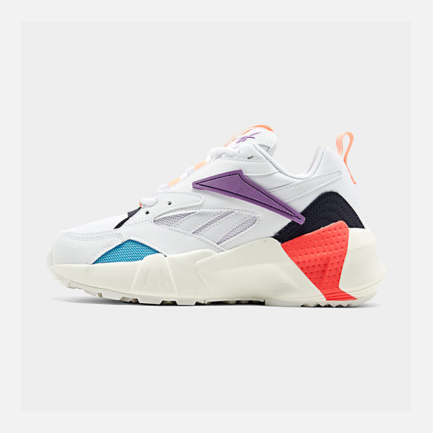 Right view of Women's Reebok Classics Aztrek Casual Shoes in White/Grape Punch/Teal