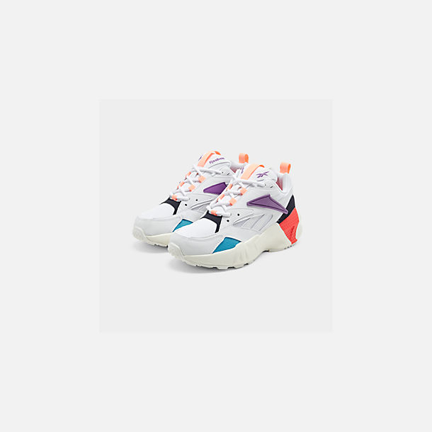 Three Quarter view of Women's Reebok Classics Aztrek Casual Shoes in White/Grape Punch/Teal