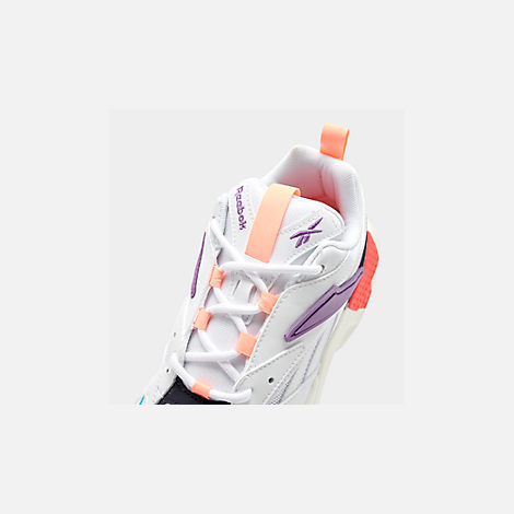 Front view of Women's Reebok Classics Aztrek Casual Shoes in White/Grape Punch/Teal