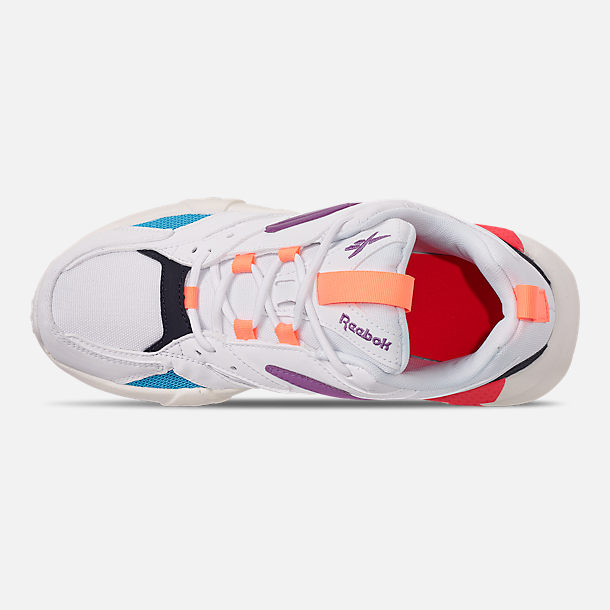 Top view of Women's Reebok Classics Aztrek Casual Shoes in White/Grape Punch/Teal