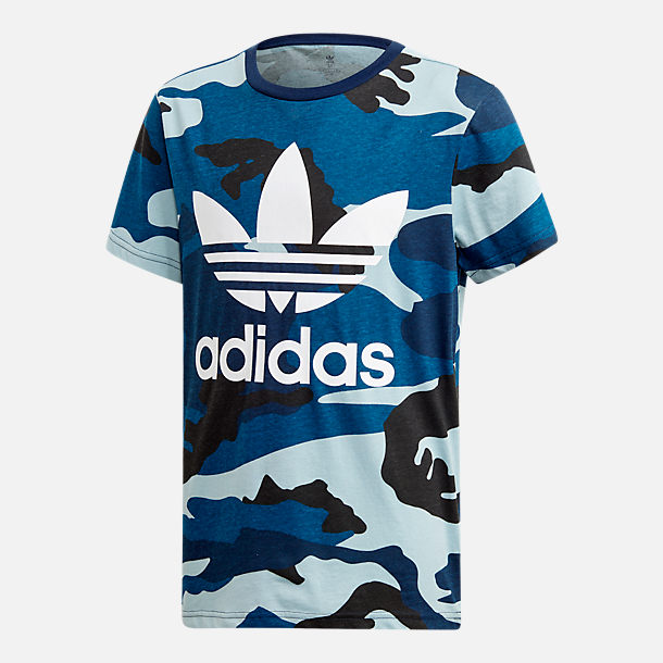 Front view of Boys' adidas Camo Trefoil T-Shirt in Blue Camo