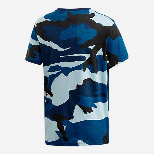 Back view of Boys' adidas Camo Trefoil T-Shirt in Blue Camo