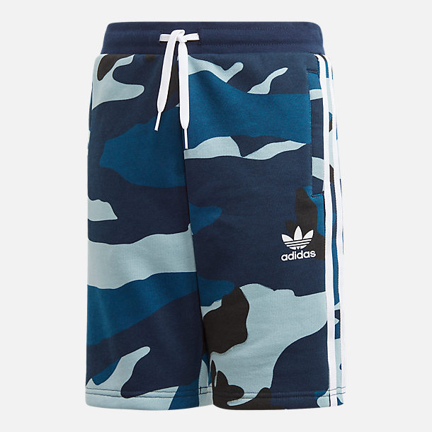 Front view of Boys' adidas Originals Camo Shorts in Blue Camo