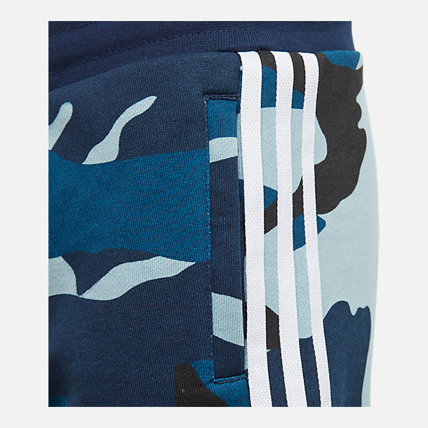 Back view of Boys' adidas Originals Camo Shorts in Blue Camo
