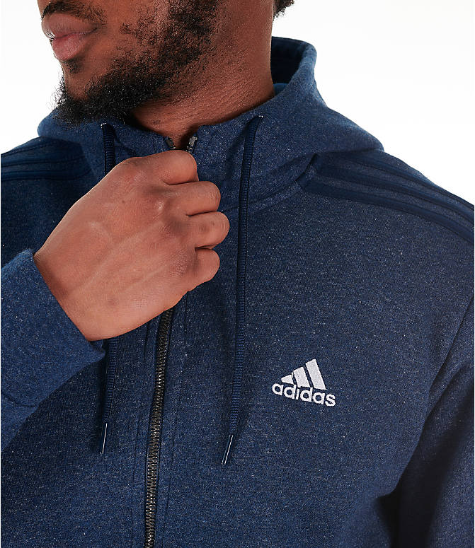 Detail 1 view of Men's adidas Essentials Linear Full-Zip Hoodie in Navy