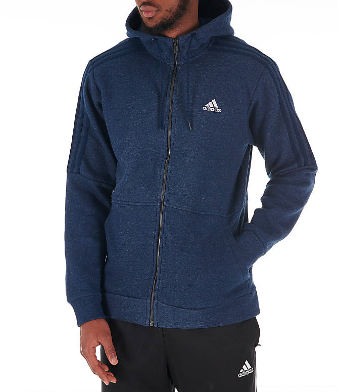 Front view of Men's adidas Essentials Linear Full-Zip Hoodie in Navy