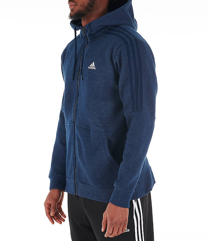 Front Three Quarter view of Men's adidas Essentials Linear Full-Zip Hoodie in Navy