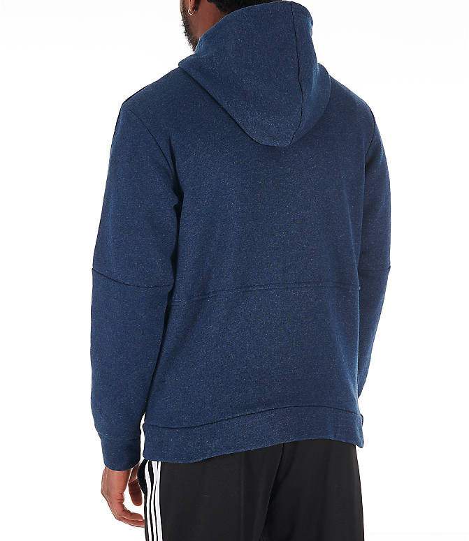 Back Left view of Men's adidas Essentials Linear Full-Zip Hoodie in Navy