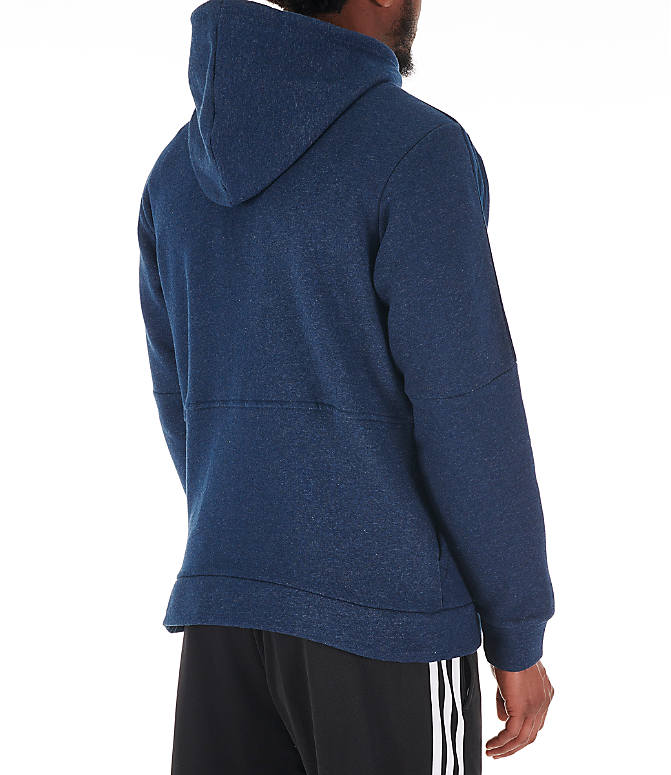 Back Right view of Men's adidas Essentials Linear Full-Zip Hoodie in Navy
