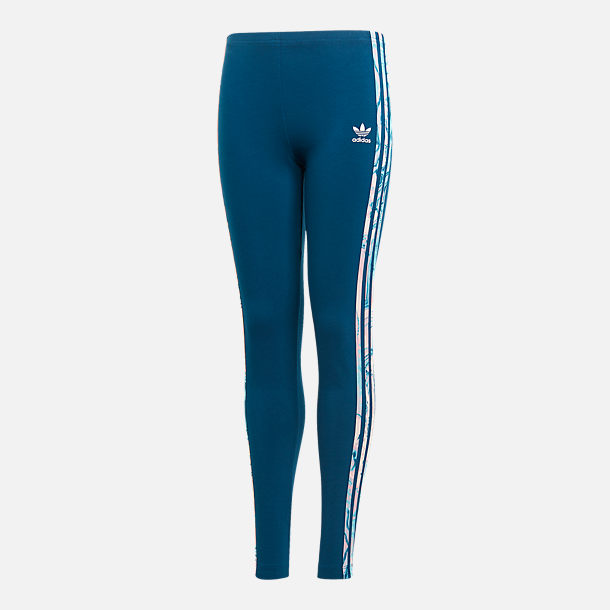 Front view of Girls' adidas Originals Marble Solid Leggings in Multi/White