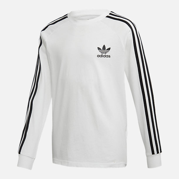 Front view of Kids' adidas Originals 3-Stripe Long Sleeve T-Shirt in White