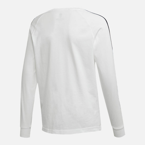 Alternate view of Kids' adidas Originals 3-Stripe Long Sleeve T-Shirt in White