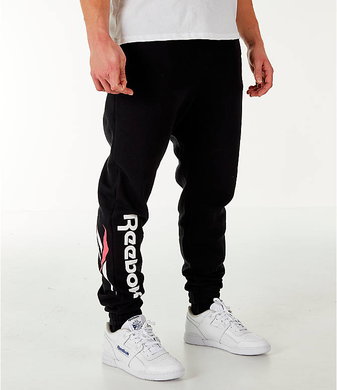 Front view of Men's Reebok Classic Vector Jogger Pants in Black