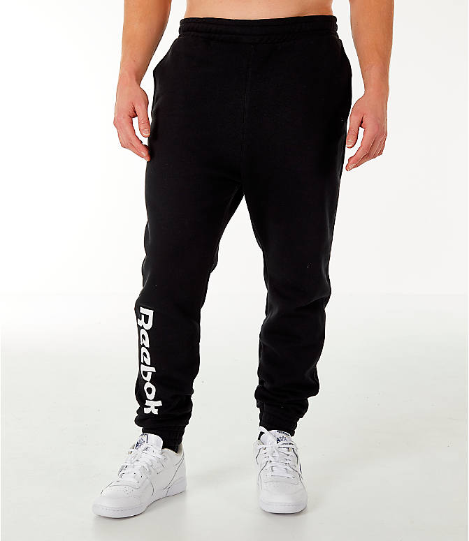 Front Three Quarter view of Men's Reebok Classic Vector Jogger Pants in Black