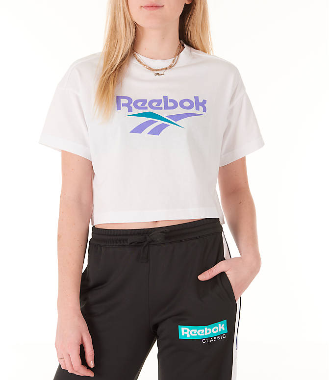 Front view of Women's Reebok Classics Crop T-Shirt in White