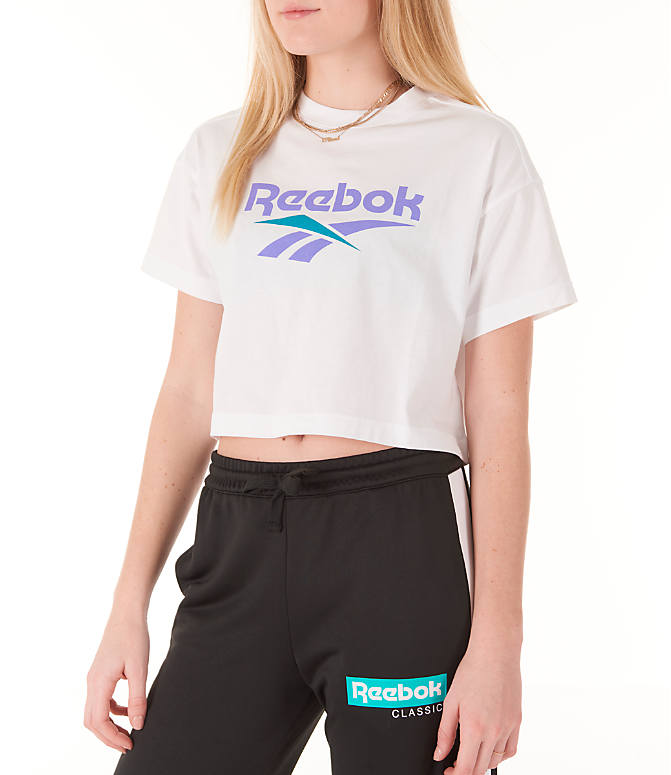 Front Three Quarter view of Women's Reebok Classics Crop T-Shirt in White