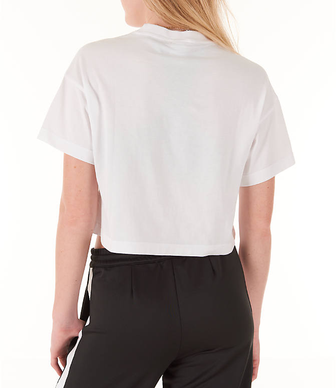 Back Left view of Women's Reebok Classics Crop T-Shirt in White