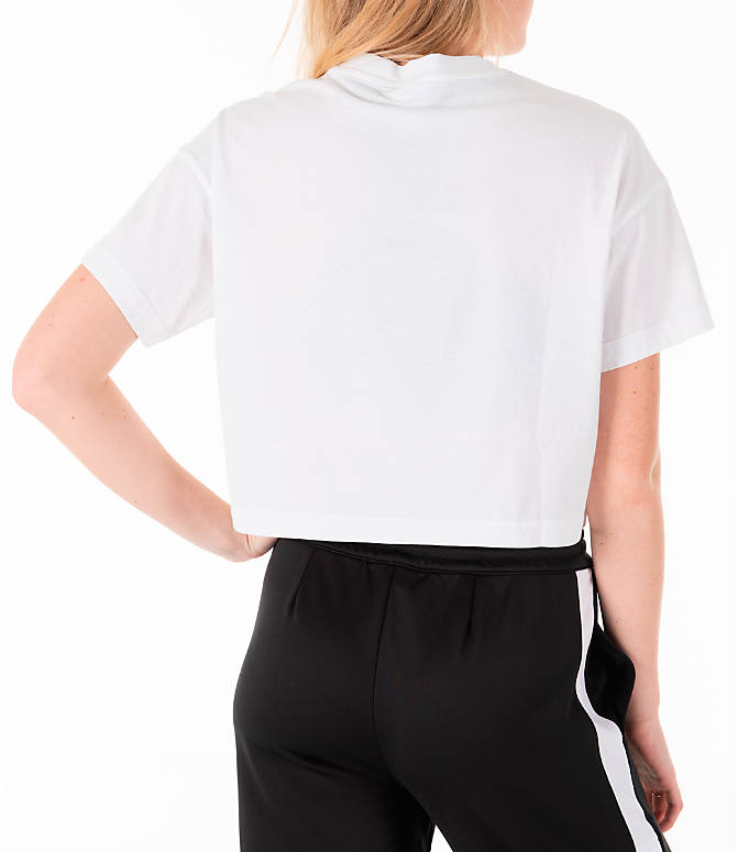 Back Right view of Women's Reebok Classics Crop T-Shirt in White