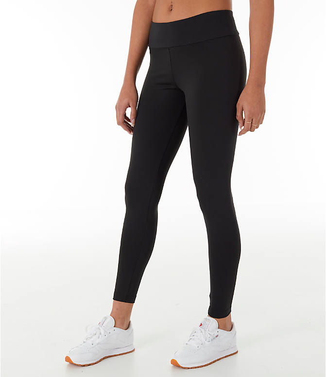 Front Three Quarter view of Women's Reebok Classics Franchise Leggings in Black
