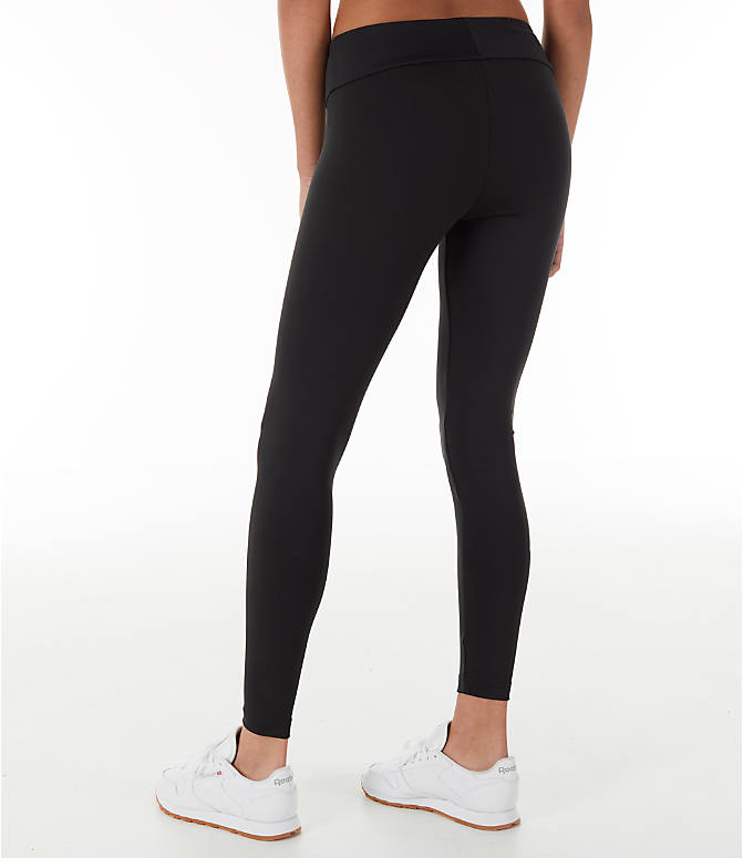Back Left view of Women's Reebok Classics Franchise Leggings in Black