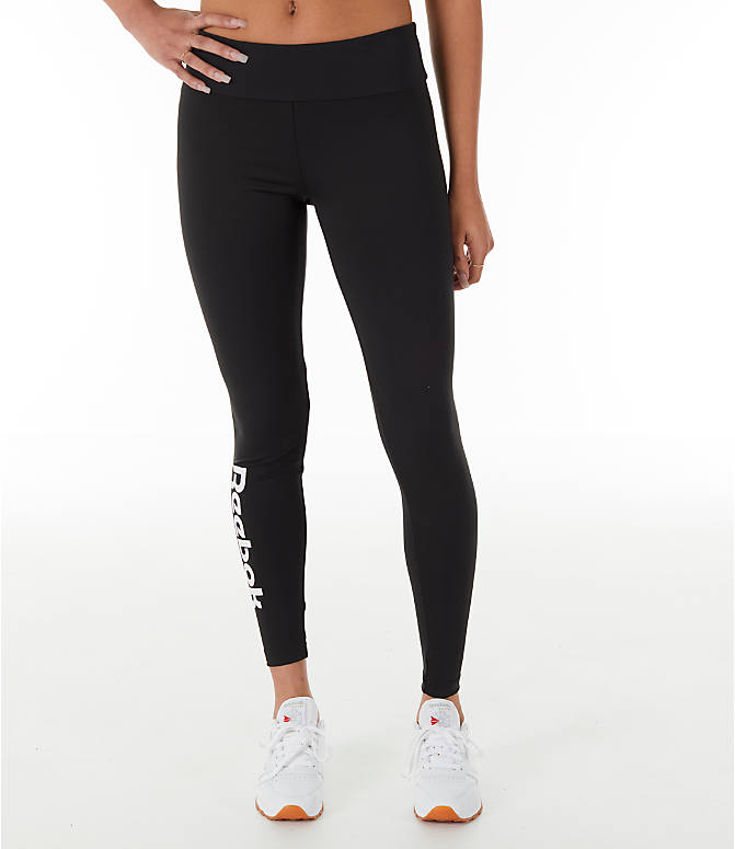 Back Right view of Women's Reebok Classics Franchise Leggings in Black