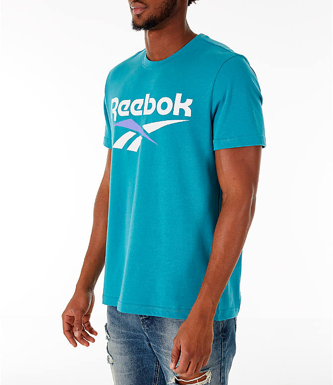 Front Three Quarter view of Men's Reebok Classics Vector T-Shirt in Turquoise