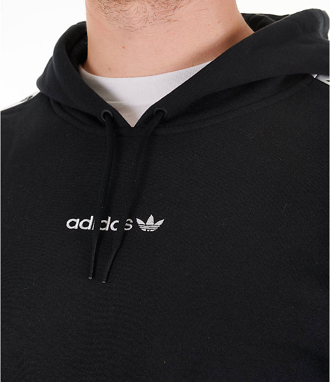 Detail 1 view of Men's adidas Originals Trefoil Tape Pullover Hoodie in Black/White