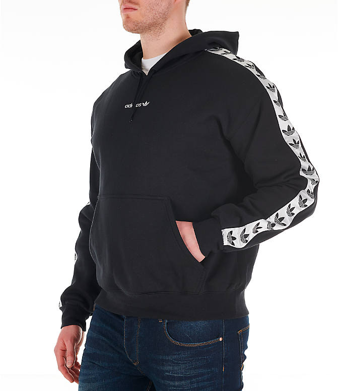 Front view of Men's adidas Originals Trefoil Tape Pullover Hoodie in Black/White
