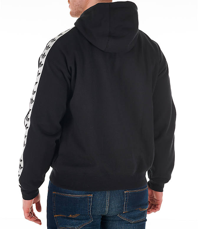 Back Left view of Men's adidas Originals Trefoil Tape Pullover Hoodie in Black/White