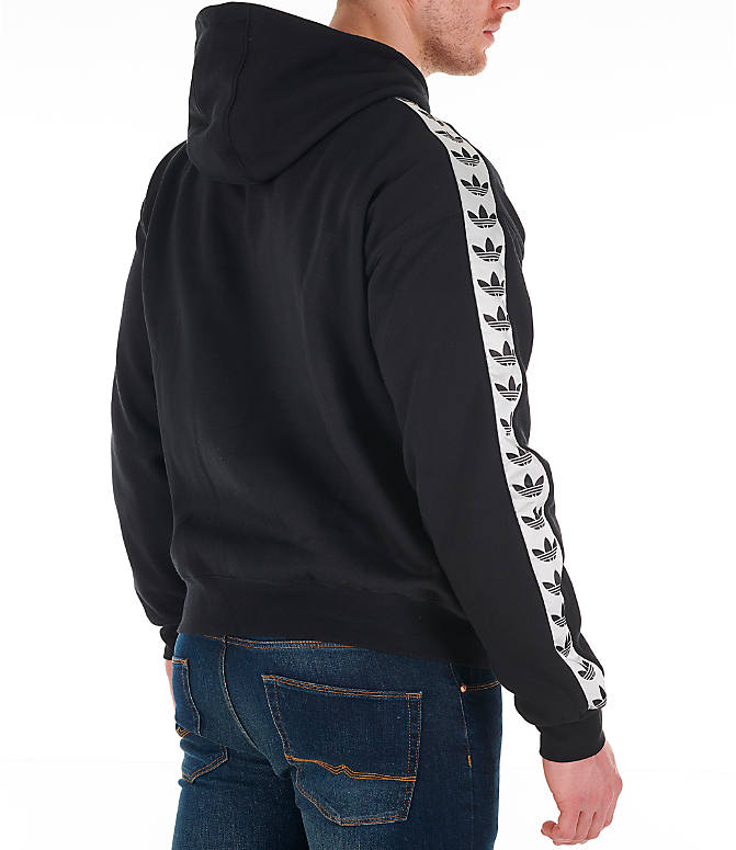 Back Right view of Men's adidas Originals Trefoil Tape Pullover Hoodie in Black/White