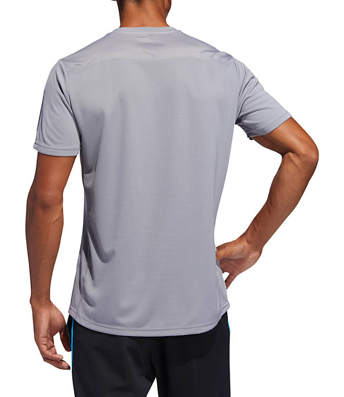 Front Three Quarter view of Men's adidas Own The Run T-Shirt in Grey/Reflective Silver