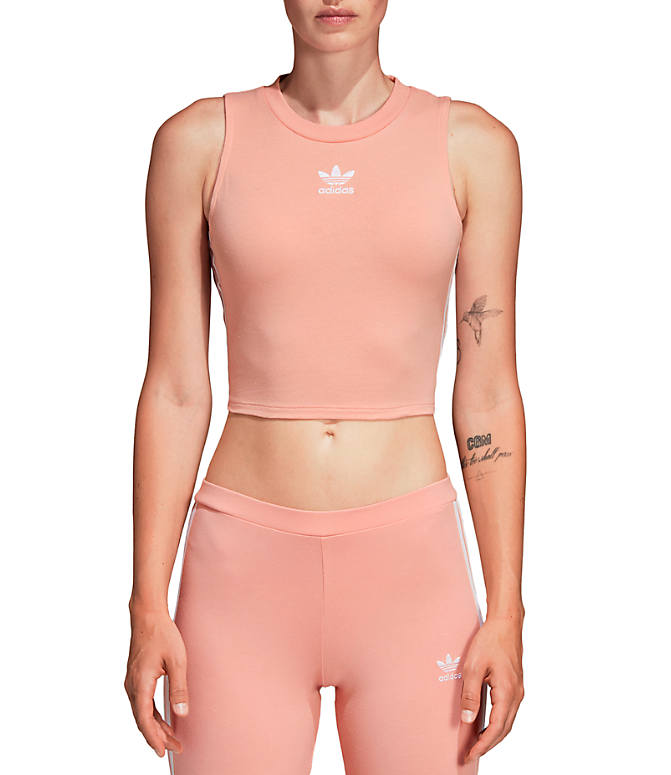 Front view of Women's adidas Originals Crop Tank in Red