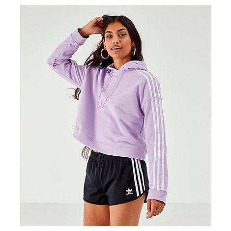 4b0d3038 Women's Originals 3-Stripes Cropped Hoodie, Purple - Size Xlrg
