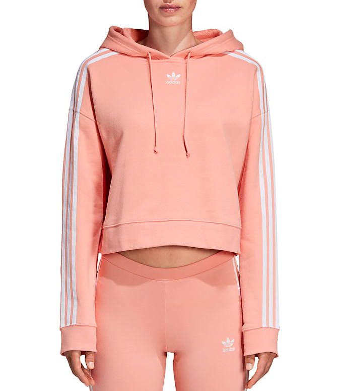 Front view of Women's adidas Oroiginals Striped Cropped Hoodie in Dust Pink