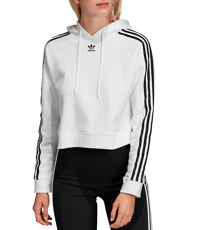Front view of Women's adidas Oroiginals Striped Cropped Hoodie in White