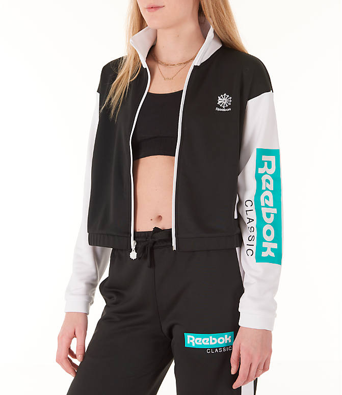 Front Three Quarter view of Women's Reebok Classics R Track Jacket in Black/White